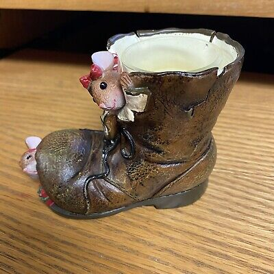 Yankee Candle Mouse Boot Christmas Present Votive Holder - Small chip on top