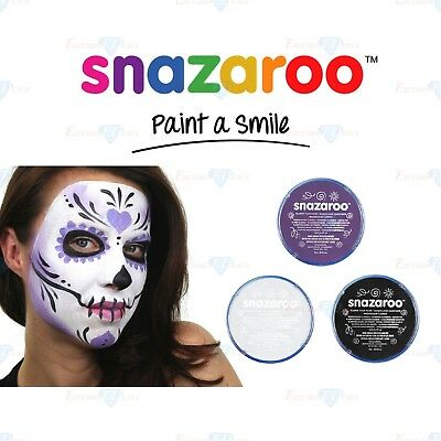 Snazaroo SKULL FACE Halloween Black, White & Purple Face & Body Paint Make - Black Face Paint Halloween