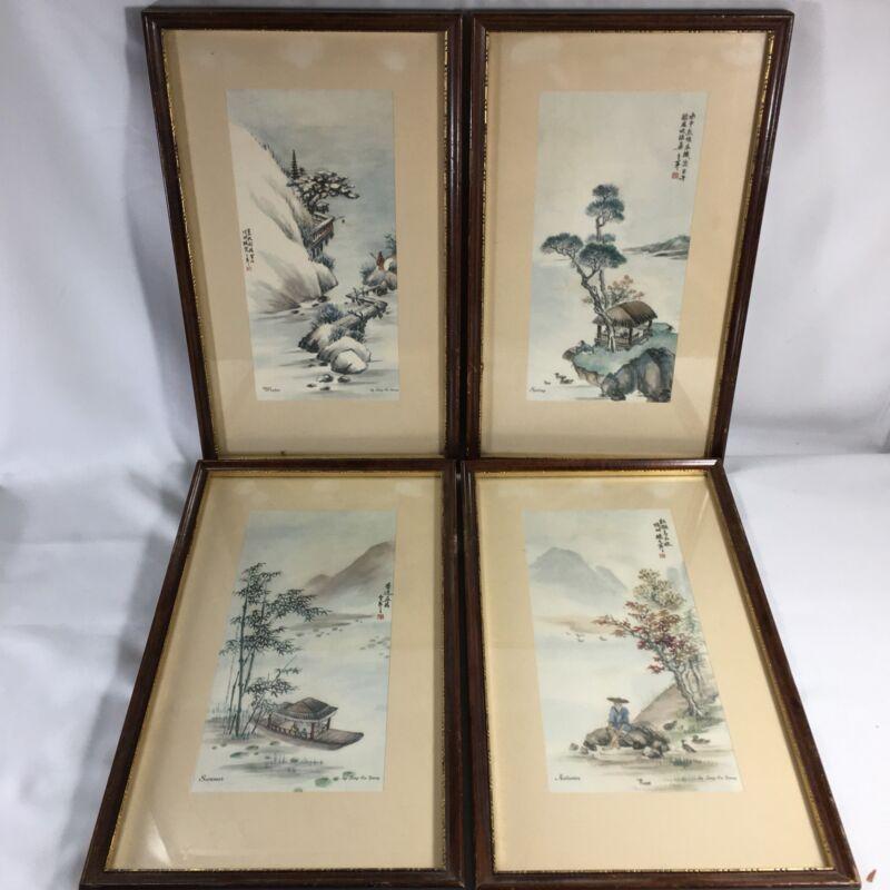Vintage 4 SEASONS LITHO Watercolor PRINTS Set By LING-FU-YANG Framed Matted