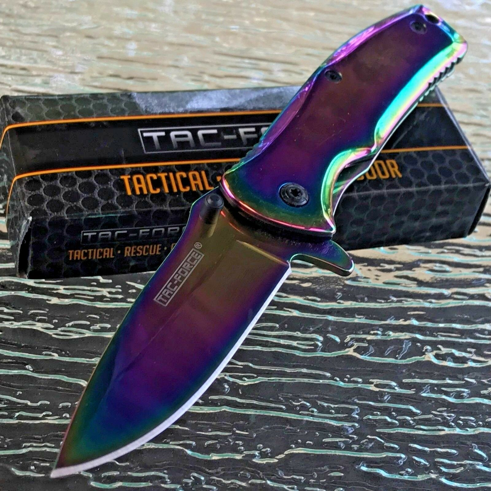 """6"""" TAC FORCE RAINBOW SPECTRUM SPRING ASSISTED TACTICAL Open"""