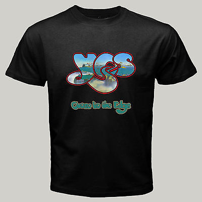 New YES *close to the edge Band Logo Rock Music Legend Men's Black T-Shirt - Edge Music
