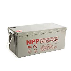 NPP 12V 200 Amp 200Ah 4D AGM Deep Cycle Wind Solar Sealed Lead Acid Battery