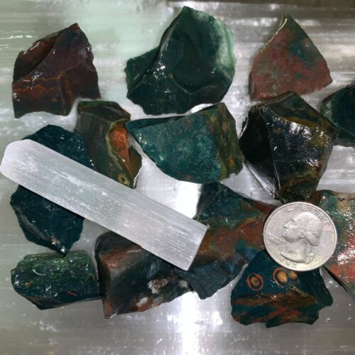 BLOODSTONE ROUGH, CHARGED 1/2 LB LOT + A FREE SELENITE CHARGING STICK