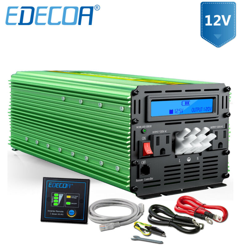 EDECOA 3000W 6000 12V dc to 110V 120V ac automotive Power Inverter LCD cable Car
