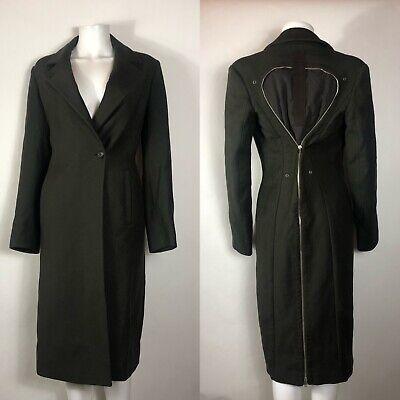 Rare Vtg Hussein Chalayan Long Green Zip Coat S