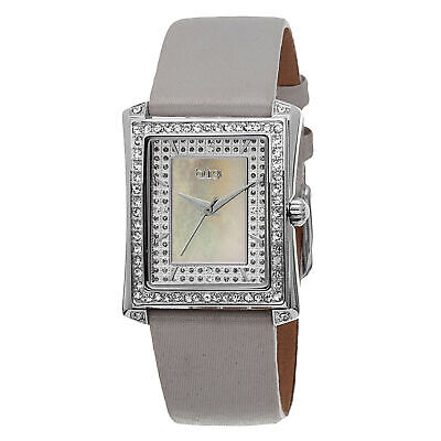 Women's Burgi BUR088GY Swiss Crystal Accented MOP Dial Grey Leather Strap Watch