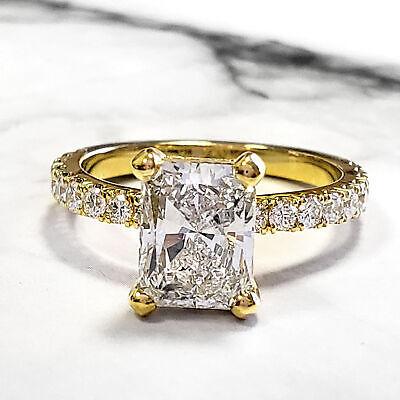 Natural 2.60 Ct Radiant Cut U-Setting Pave Diamond Engagement Ring J VS2 14k GIA 3