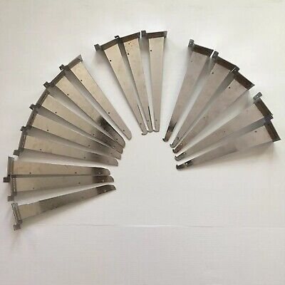 Mixed Lot Of 16 Reeve Slatwall Grid Retail Store Shelf Fixtures 12 Chrome