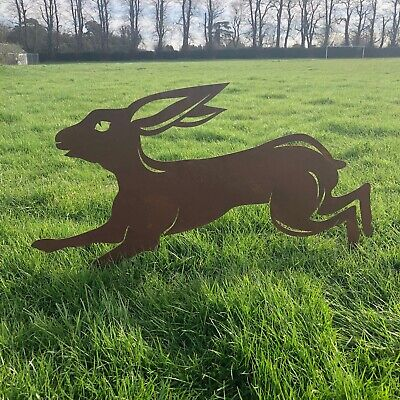 LARGE METAL RUNNING LEAPING JUMPING HARE SIGN SILHOUETTE GARDEN STATUE ORNAMENT