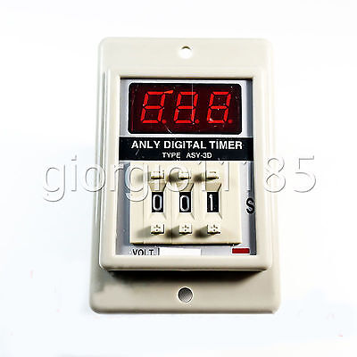 Us Stock Asy-3d 1-999m Ac110v Power On Delay Timer Digital Time Relay 8p W Base