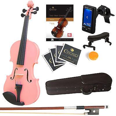 Mendini Solidwood Violin Size 4/4 3/4 1/2 1/4 1/8 1/10 1/16 +Tuner+Book/Video