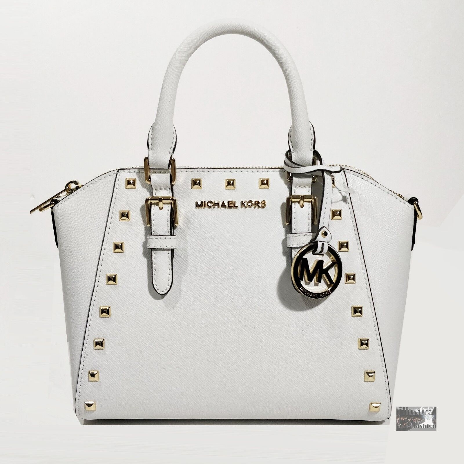 4366beff67a0 Details about NWT  328 Michael Kors Ciara White Saffiano Leather Studded  Satchel Crossbody Bag
