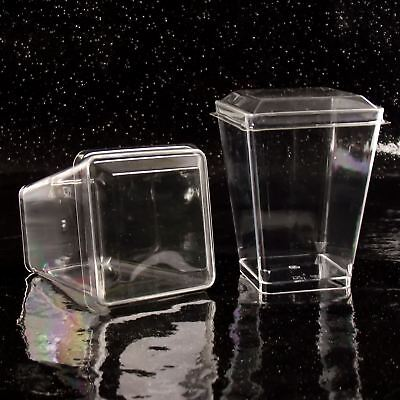 Dessert-cups (Tall Trapezium 7.5cm Disposable Dessert Cups (L) Canape Dishes Clear Plastic)