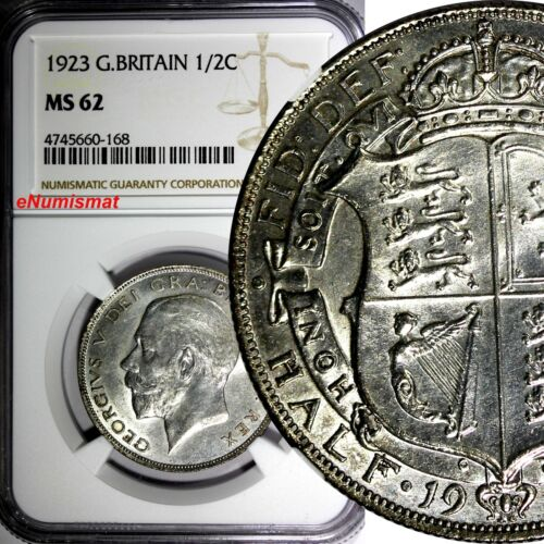 Great Britain George V Silver 1923 1/2 Crown NGC MS62  KM# 818.2