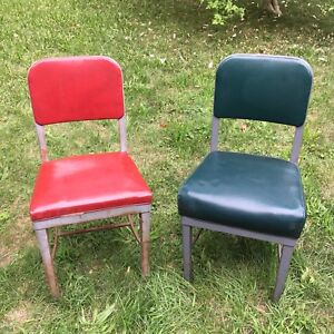 Vintage industrial metal vinyl office chairs