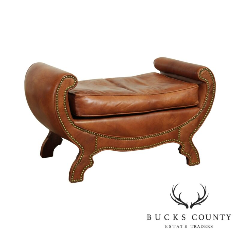 Century Furniture Duke of York Studded Leather Bench