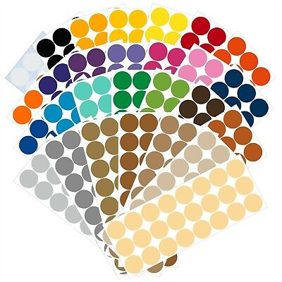 Color Dot Stickers (Color Coding Dot Labels, 1 inch Round Stickers, 24 pack, Permanent Outdoor)