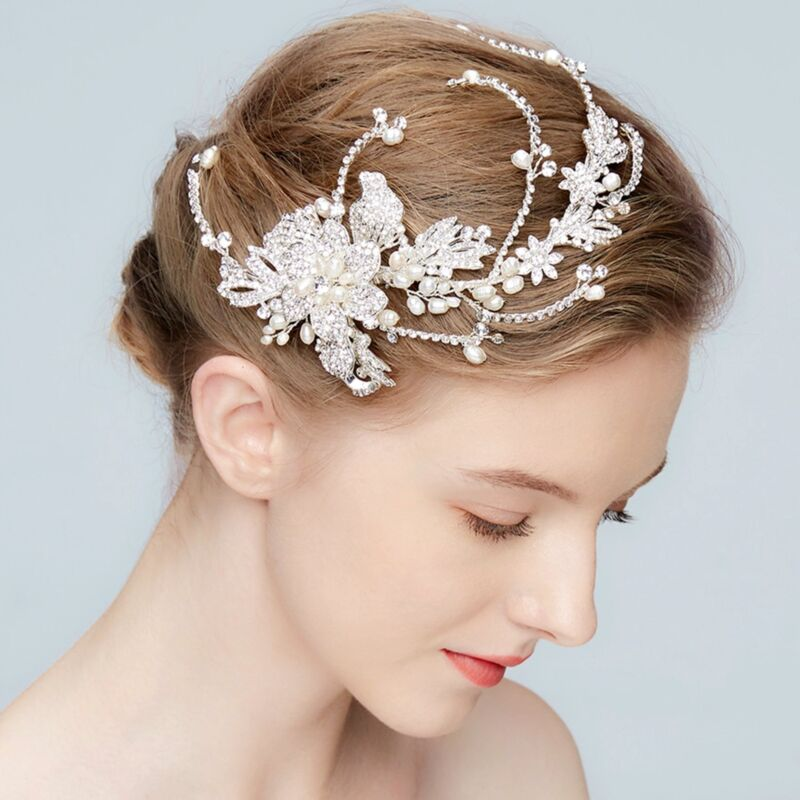Bridal Hair Clip Freshwater Pearl Crystal Headpiece Wedding Accessories 02286 S