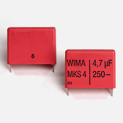Matched Pair Of Wima Mks4 4.7uf 250v Film Capacitor