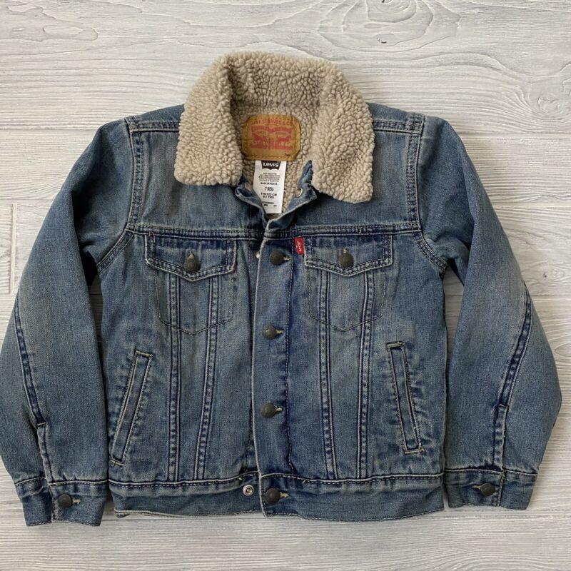 Levis Sherpa Jean Jacket Fleece lined Kids Size 7 Reg 6-7 Years