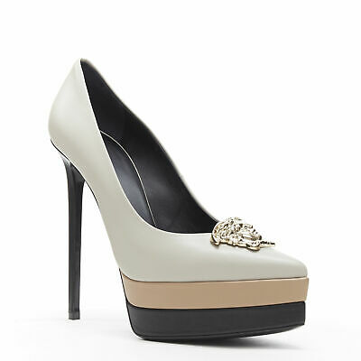 new VERSACE Palazzo Medusa grey beige black leather triple platform pump heels