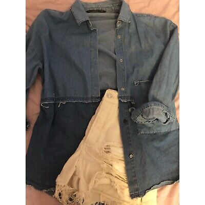 Zara Oversized Denim Patch Shirt Size L