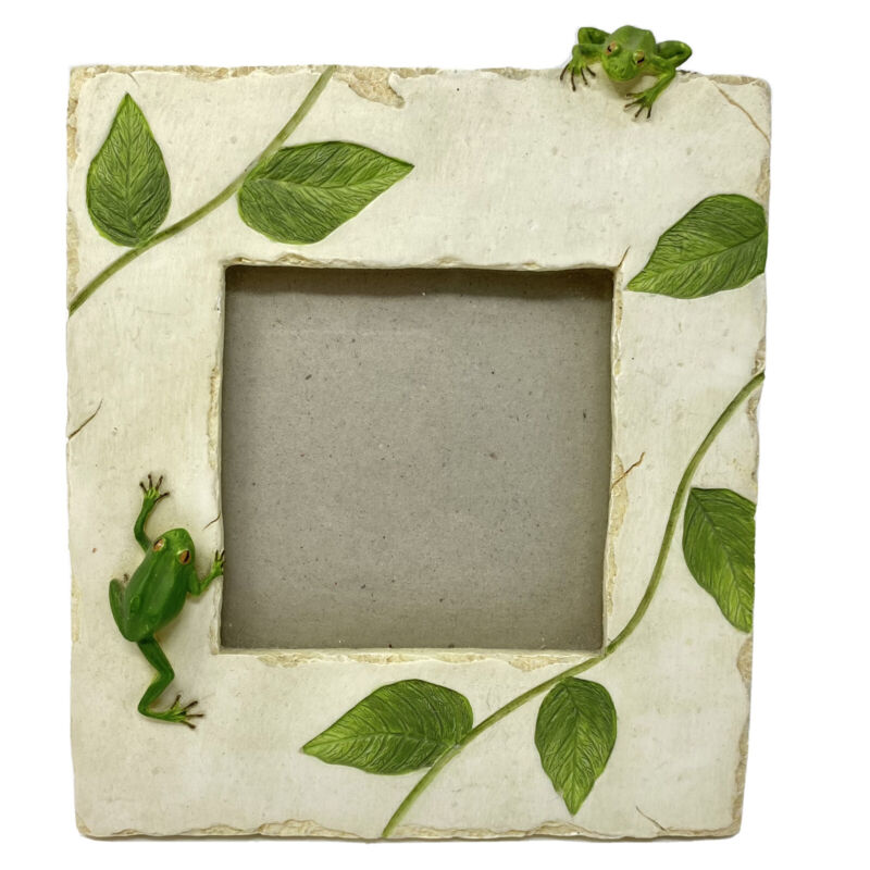 White Ceramic Resin FROG and LEAVES Photo Frame Distressed