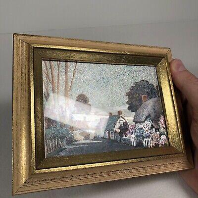 Vintage Foil Art Country Village Road Trees Framed Under Glass 7