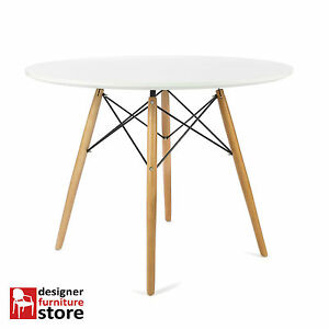 charles eames round dining table beech wood legs 100cm white table top