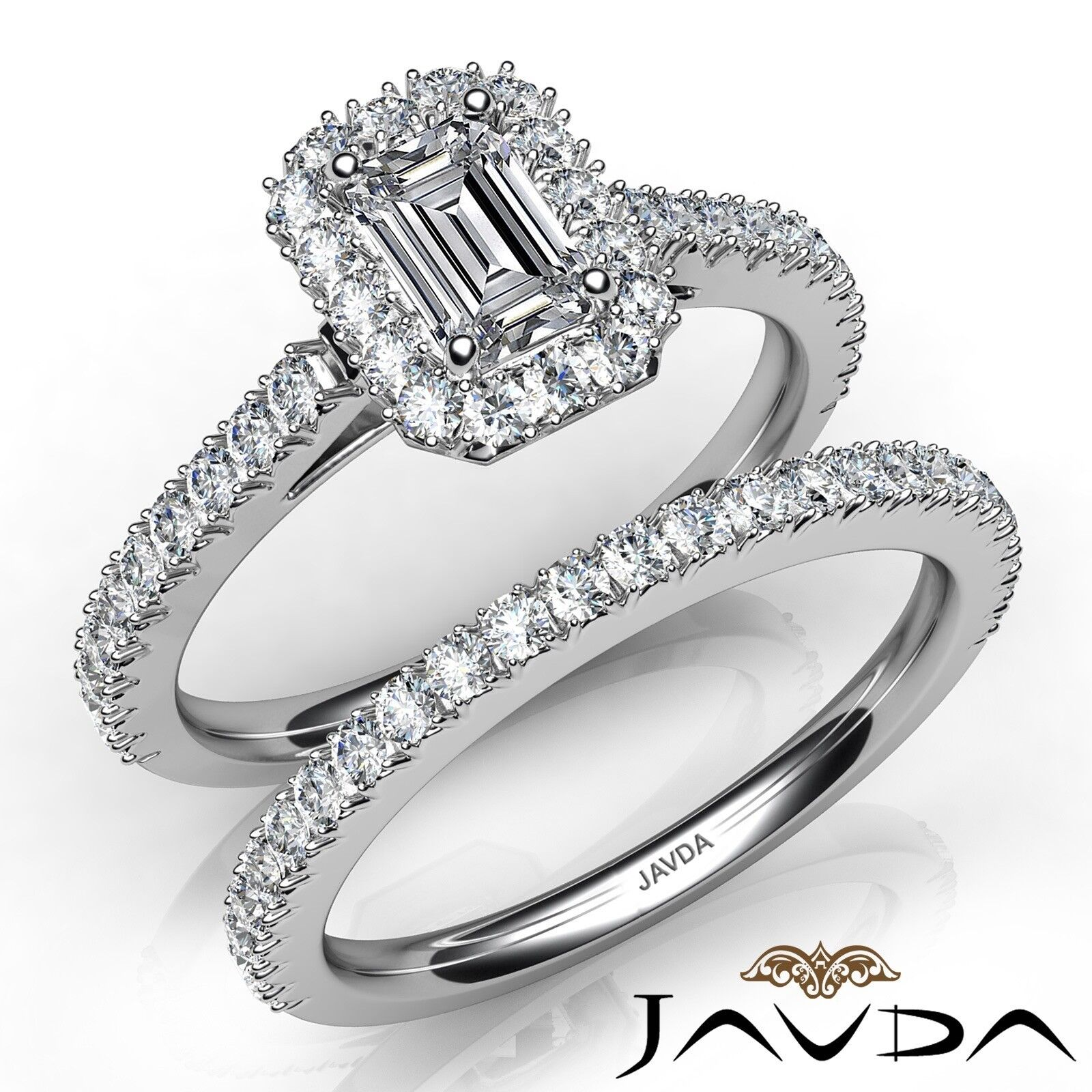 2.03ctw French Pave Halo Bridal Emerald Diamond Engagement Ring GIA I-VS2 W Gold