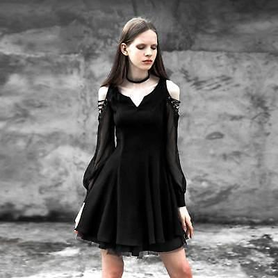 PUNK RAVE Gothic Kleid Schwarz Minikleid Chiffon Schulterfrei Creed (Rave Dress)