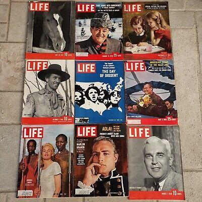 Vintage LIFE Magazines 1939-1969 Lot of 9 Complete Advertisements Brando Cooper