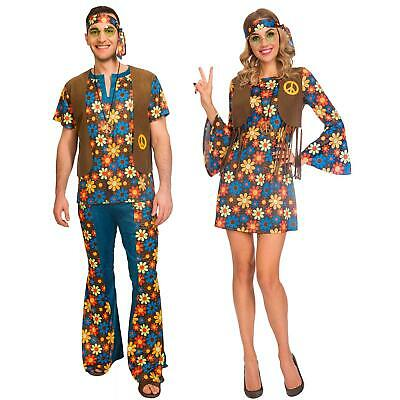 Adult's Men's Womens Couples Groovy Hippy 60's 70's Fancy Dress Hippie Costume ](70s Couples Costumes)