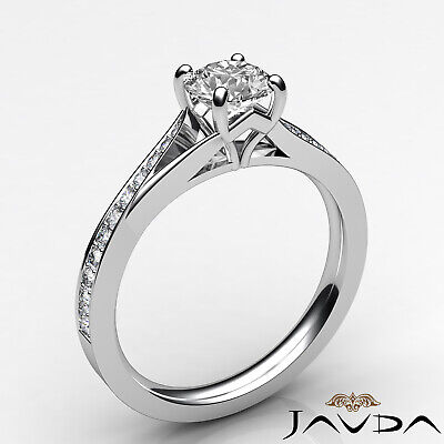 Cathedral Split Shank Round Diamond Engagement Pave Set Ring GIA D VS1 0.85 Ct 6
