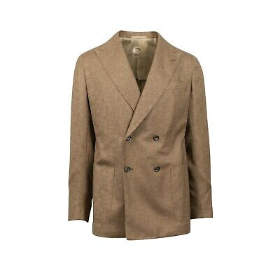 NWT CARUSO Tan Double Breasted Silk Blend Sport Coat 50/40 R Drop 8 Double Breasted Silk Coat