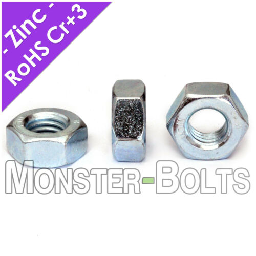 1/4-20 Finished Hex Nuts, Grade 5 Zinc Plated Steel Cr+3 RoHS, US / Inch Coarse