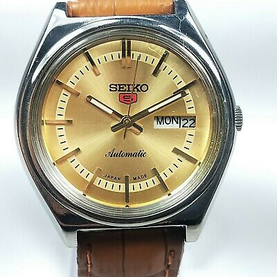 Vintage Seiko 5 Mechanical Automatic Movement Day Date Dial Mens Watch AB472