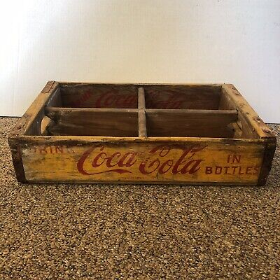 Vintage 1955 Coca Cola Wood Yellow Advertising Crate Leet Tidewater Cypress Co.