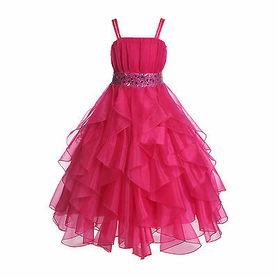 Wedding Stunning Organza Spaghetti-Straps Pleated Ruffled Flower Girl Dress #009 - Flower Girl Dresses Organza