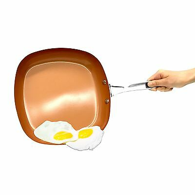 As Seen On Tv Gotham Steel 2  Deep Square Copper Frying Pan  Brand New