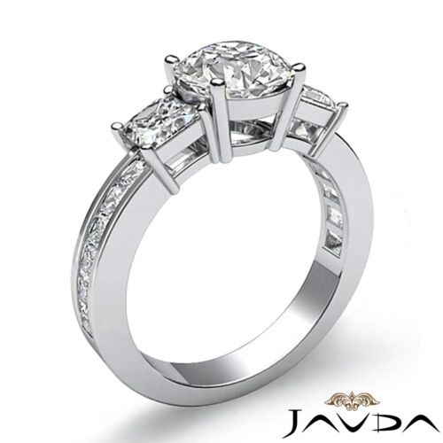 3 Stone Round Diamond Engagement Channel Set Ring GIA F VS2 14k White Gold 2.1ct 1
