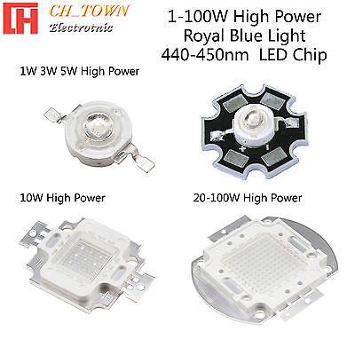 1w 3w 5w 10w 20w 30w 50w 100w Royal Blue 440-450nm High Power Led Smd Chip Lamp