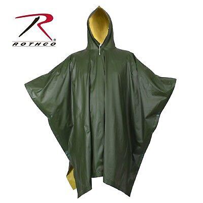 Yellow Rain Poncho (Rothco Reversible Rubberized Poncho - Olive Drab/Yellow Reversible Rain)