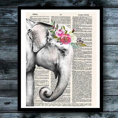 Elephant Vintage Dictionary Art Poster Flower Crown Shabby Chic Animal Decor Animal Art Vintage Animal