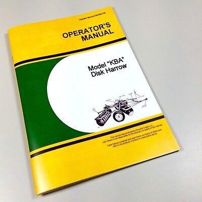 Operators Manual For John Deere Kba Disc Harrow Owners