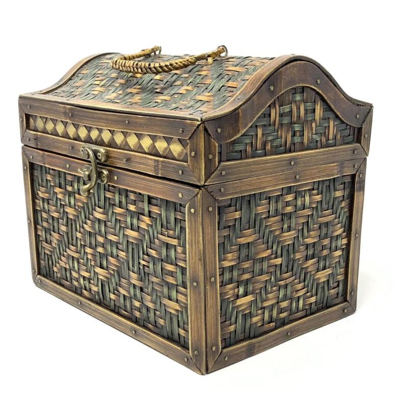 Wicker Wooden Woven Treasure Chest Storage Box Decorative Container