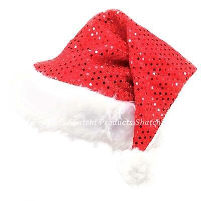 12 Deluxe Santa Weihnachtsmann Hut Pailletten Kostüm Party - Deluxe Santa Hut