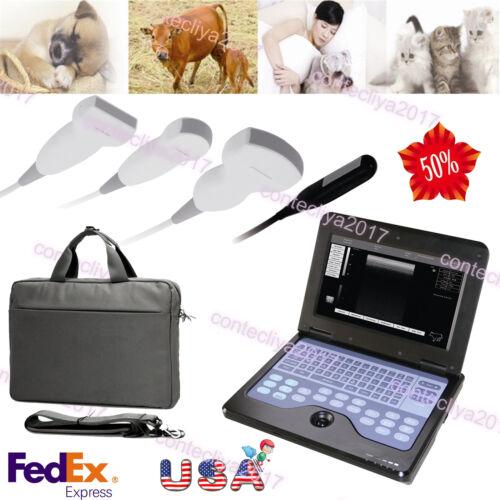 Usa Veterinary Ultrasound Scanner Portable Laptop Machine, 2 Probes, 3y Warranty