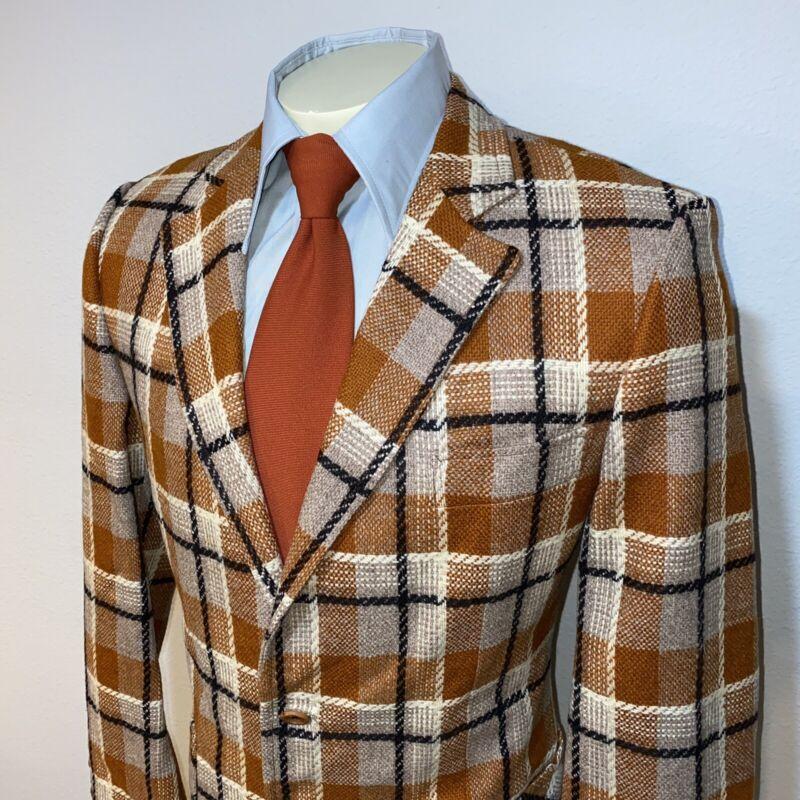 Vtg 60s 70s Burnt ORANGE Plaid Blazer Leisure Suit Jacket WOOL Coat MENS 44 Long