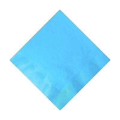 50 Plain Solid Colors Beverage Cocktail Napkins Paper - Bermuda Blue Bermuda Blue Beverage Napkins